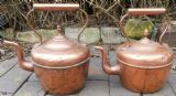 Pair Victorian Copper Kettles